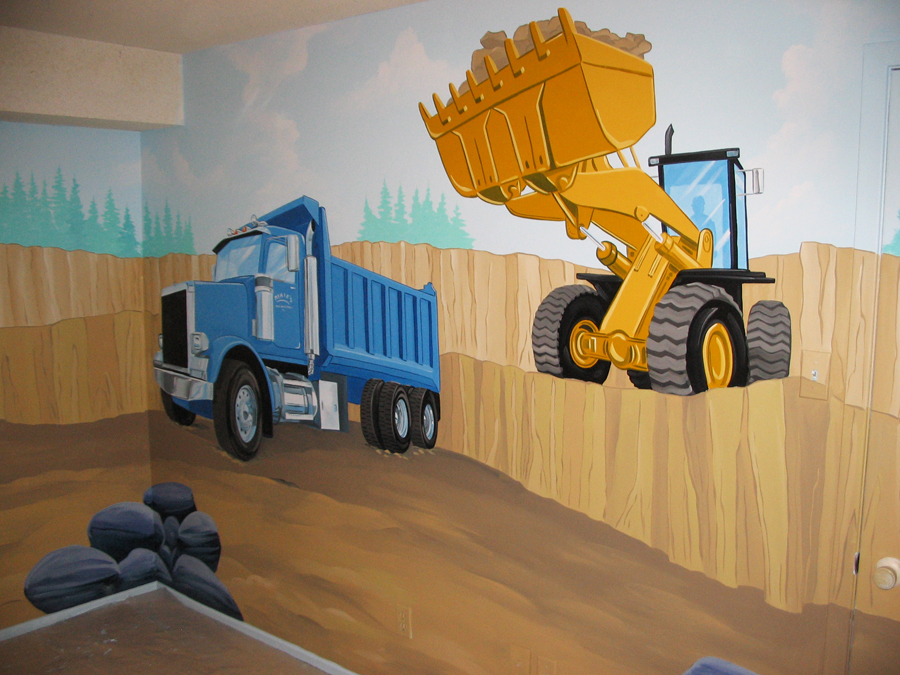 Construction themes mural magic for Construction mural