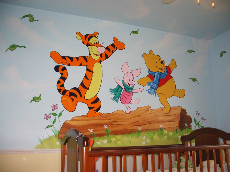 Cartoon character mural pictures for Mural kartun